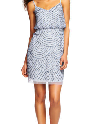 Adrianna Papell Short Blue Formal Dress at Vera's Ladies Apparel
