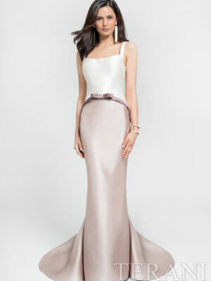 Terani Couture Long Formal Gown Tan and White