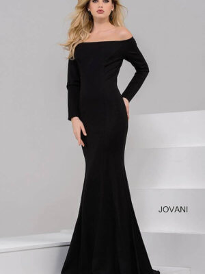Jovani Black off the shoulder long sleeved dress