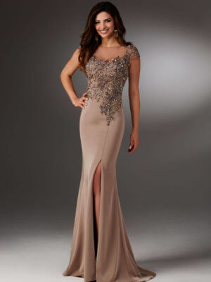 MGNY by Mori Lee Brown Long Formal Dress