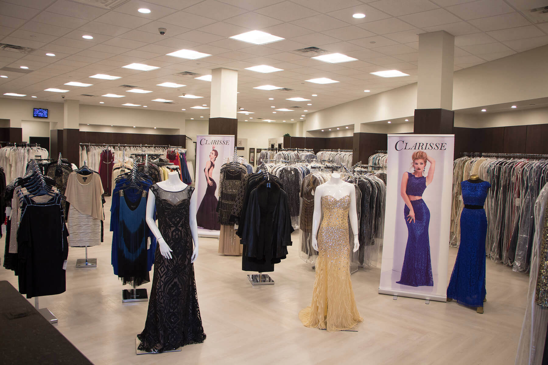 Interior of Vera's Ladies Apparel in Medina, Ohio showing formal dresses