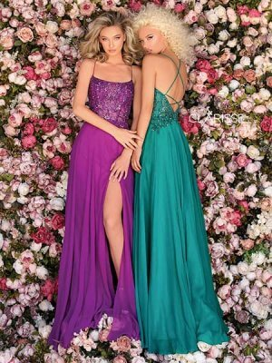 Clarisse Prom Dresses, style 8022, in Amethyst and Dark Emerald