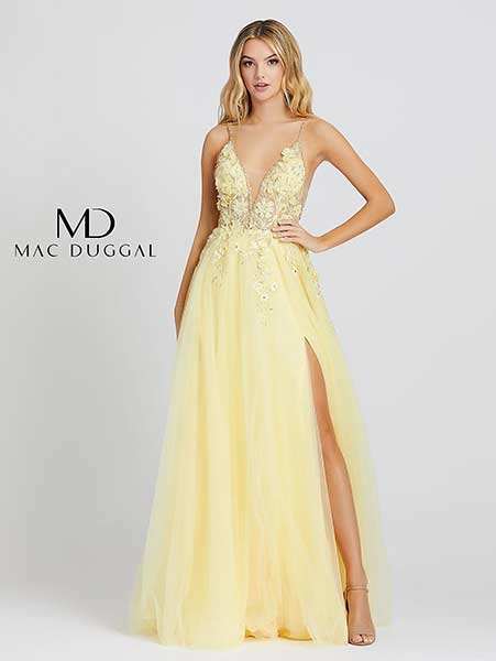 Mac Duggal Prom Dress 11125M Lemon-yellow