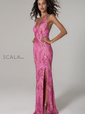 Scala hand-beaded prom dress style 60106-hot-pink