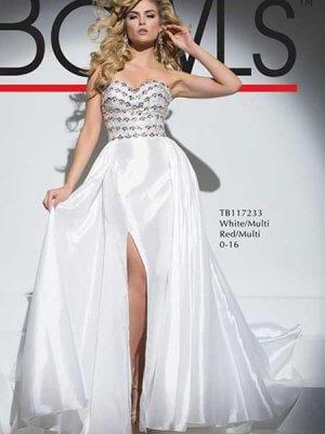 tony bowls style 117233 white prom dress